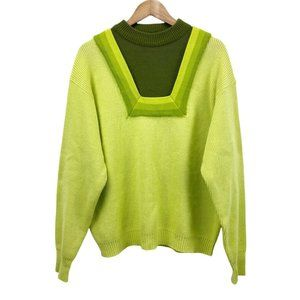 Vintage 60s 70s Sears The Mens Store Chartreuse Olive Square Neck Sweater XL